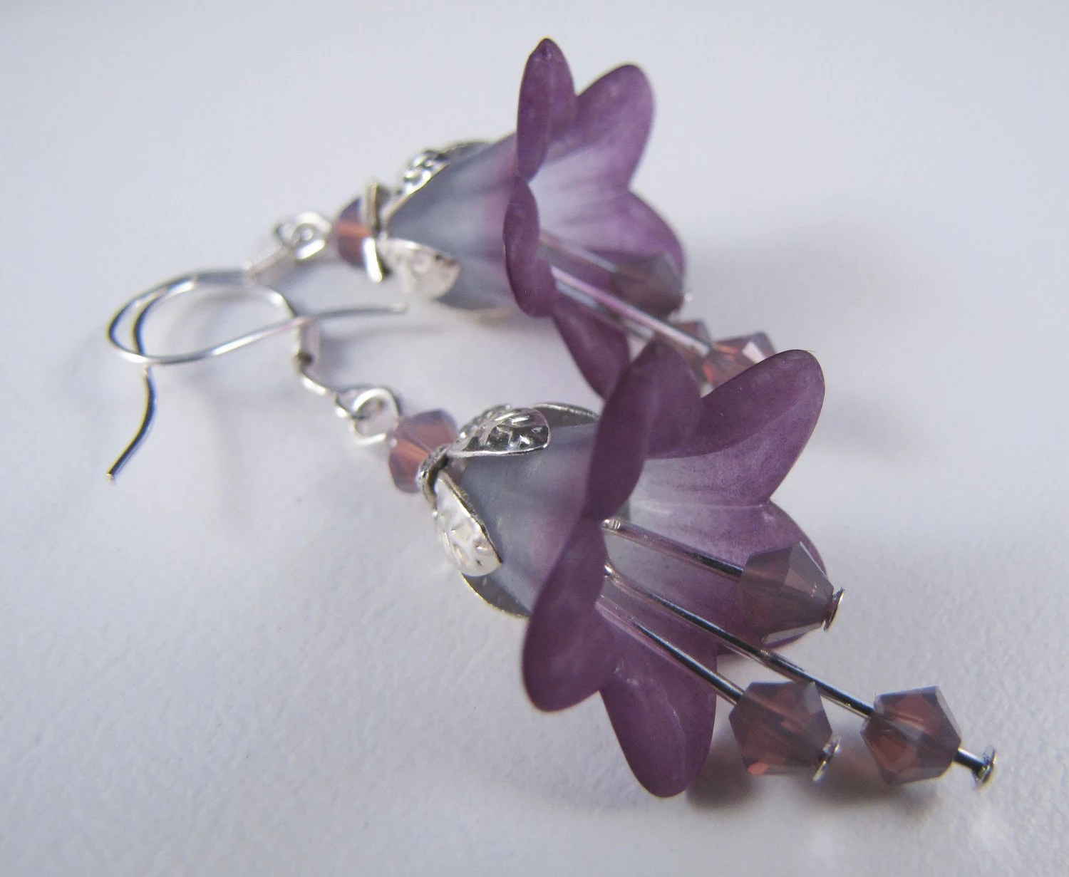 Lily Flower Earrings Lucite Blue to purple and Swarovski Crystals