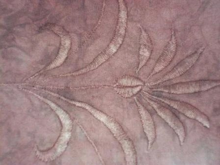 Hand dyed Recycled  Wine-Brown Flower Embroidery