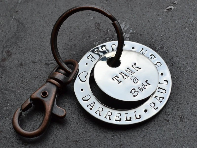 Father's Day Gift Idea / Personalized Family Name Key Chain - GunmetalGems