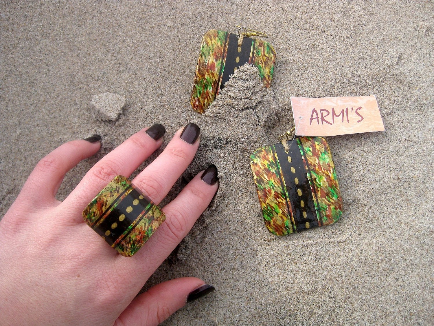 "Papier mâché - ""AUTUMN"" -  Hand painted - Handmade - Earrings - Ring - Artisan jewelry - Paper jewelry"