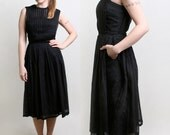 1960s Pleated Dress - Vintage Anne Fogarty Black Day Dress - Medium - zwzzy
