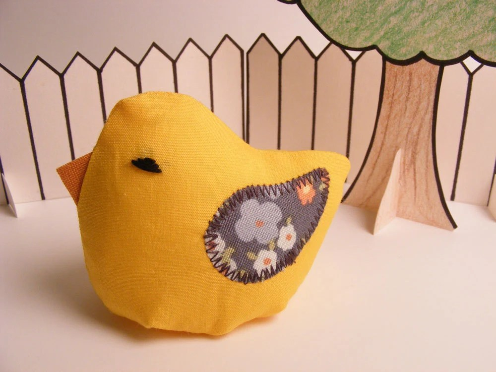 "Plush Bird - Yellow ""Little Bean Bird"" with grey floral wings - Banjoflannel"