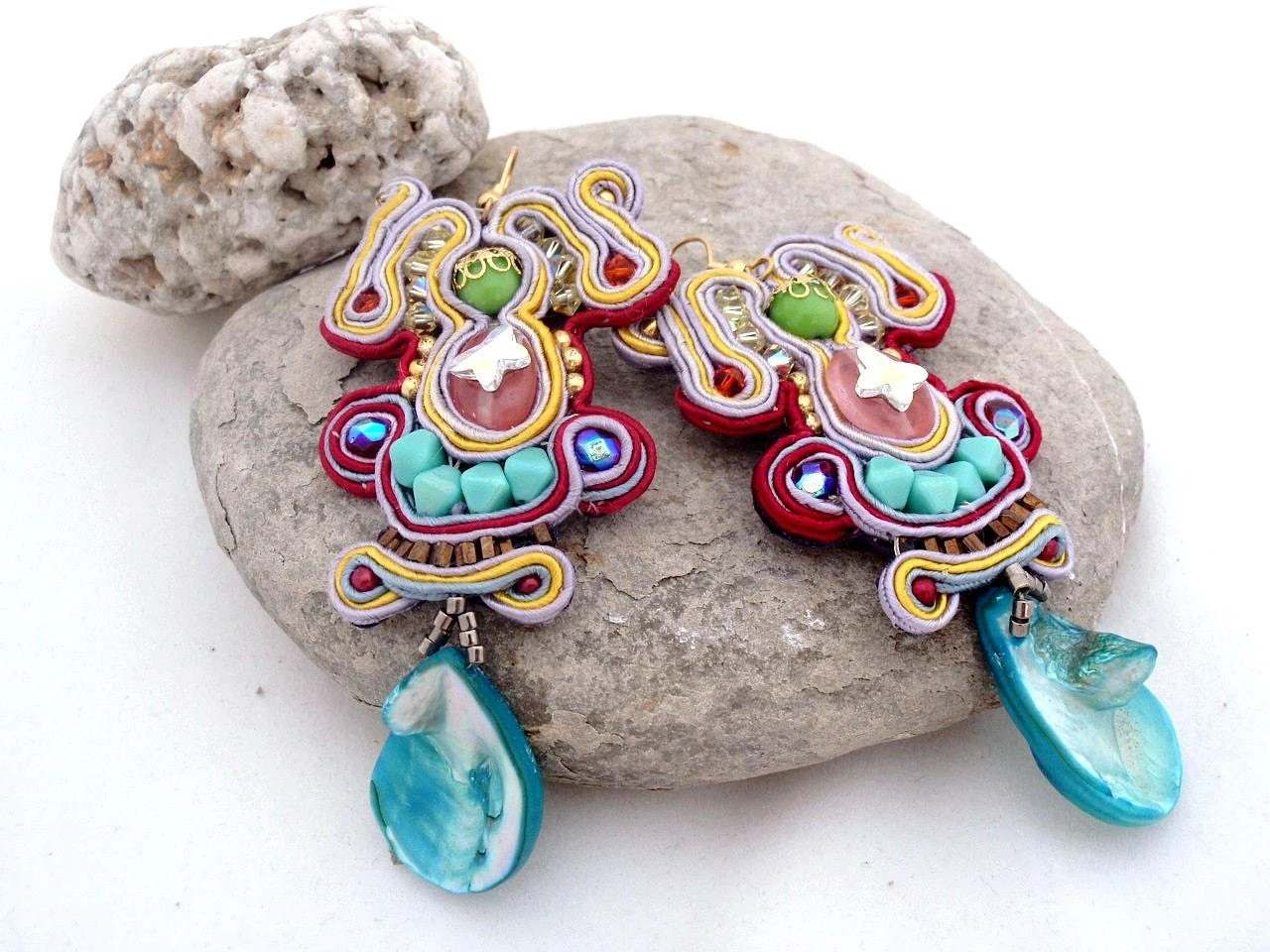 soutache earrings ,  swarovski butterfly , statement earrings ,  turquoise mother of pearl  , Copacabana Earrings