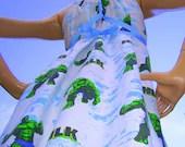 Hulk Dress OAK Upcycled Corset Tie Sundress Small to Large - avantegarb