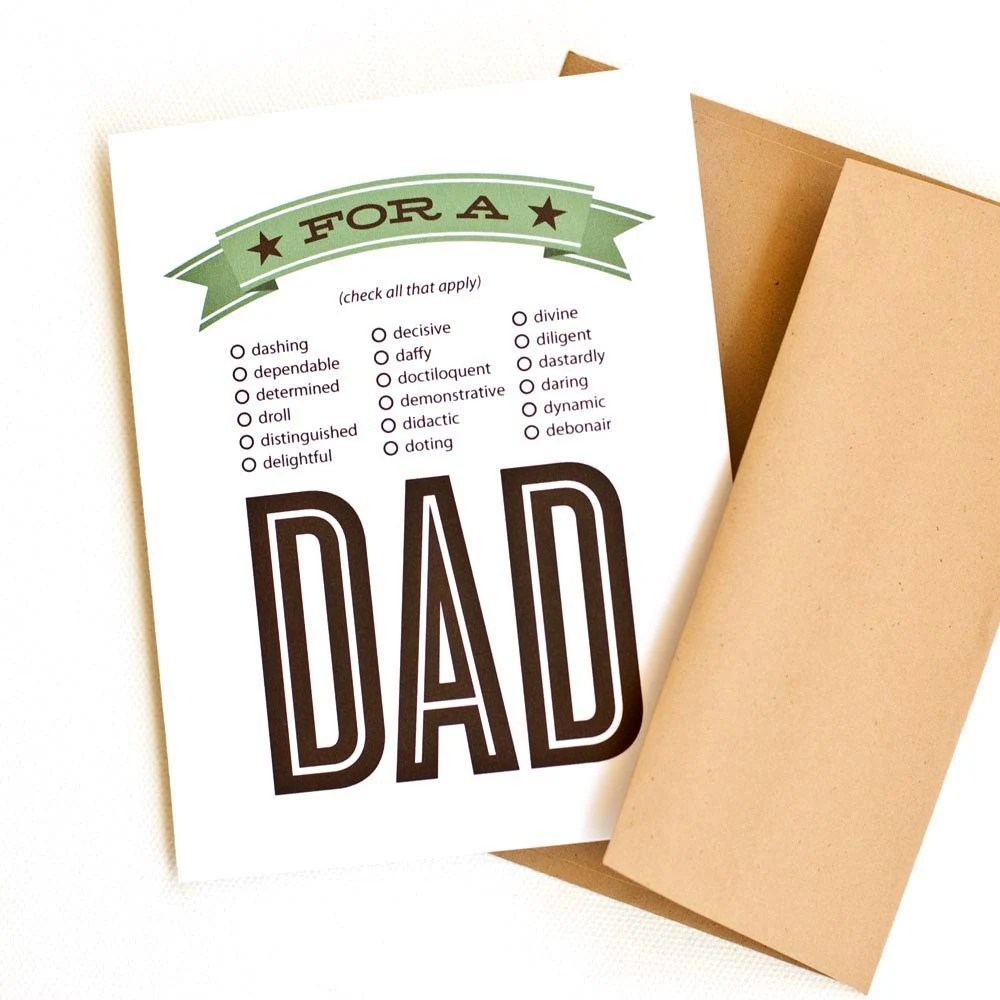 Personalized Father's Day Card, Funny Clever Card for Dad // DADJECTIVE - PearentheticalPress