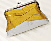 "8"" Silver and Yellow Silk Clutch  - Custom - SimplyClutch"