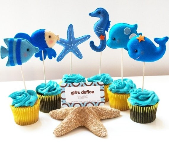4 set of Under the Sea Friends Party Toppers -  Premium Favors for Weddings Birthdays or Baby Showers