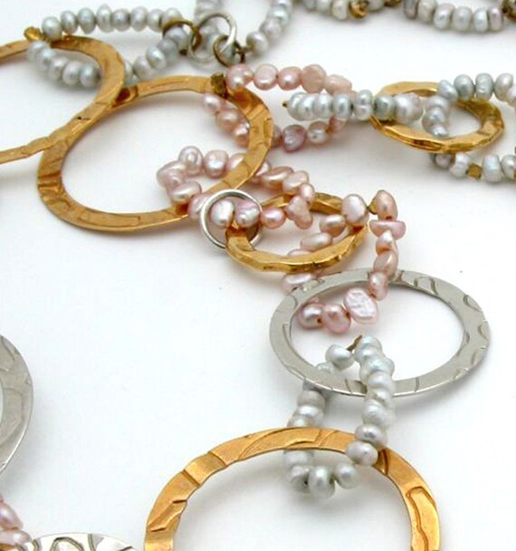 Hoops and pearls Necklace -OOAK Mix of Silver and Gold Hoops Necklace with Grey and Pink pearls