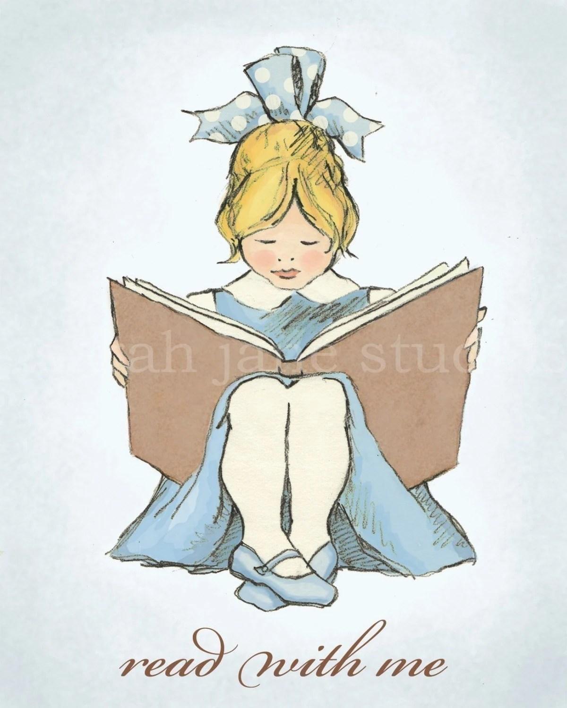 Children's Wall Art Print - Read With Me (Blue B) - 8x10 - Girl Kids Nursery Room Decor