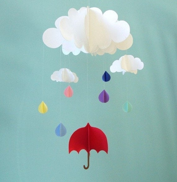 Red Umbrella and Raindrops Hanging Baby Mobile/3D Paper Mobile
