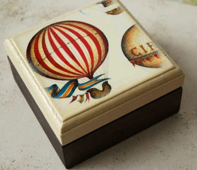 Float Away with Me Wood Square Box by Mmim