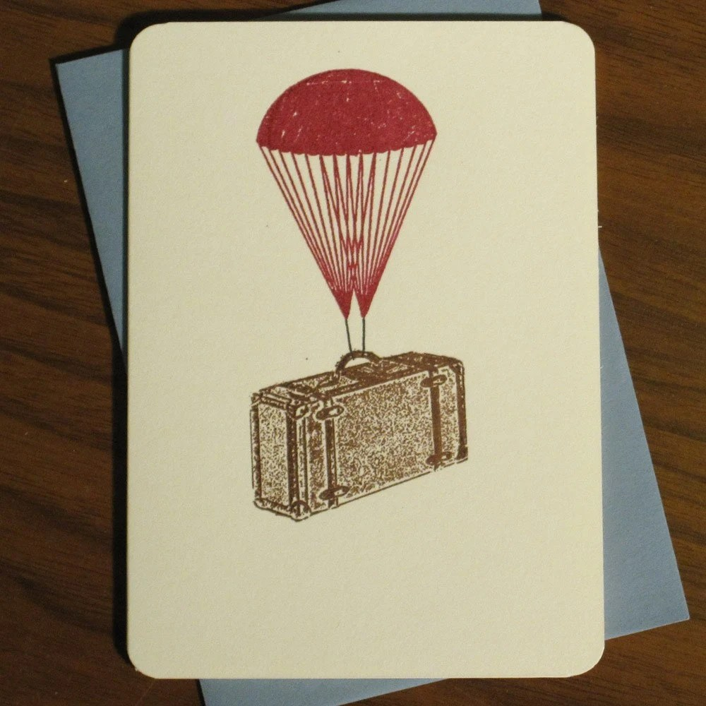 FREE SHIPPING Sale - Parachute Suitcase - Gocco Screen-Printed Card
