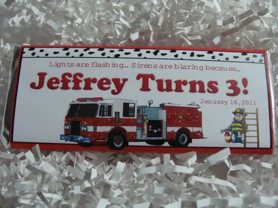 Personalized Candy Bar - Boy Birthday Firetruck Theme