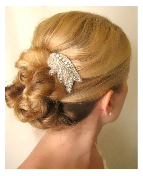 Marla - beaded bridal  rhinestone hair comb