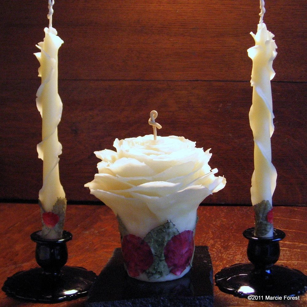 Unity Candle Set - Pure Beeswax & Roses - Unique Rose Candles for Weddings, Gifts, Holidays, Home Decor by Artist Marcie Forest
