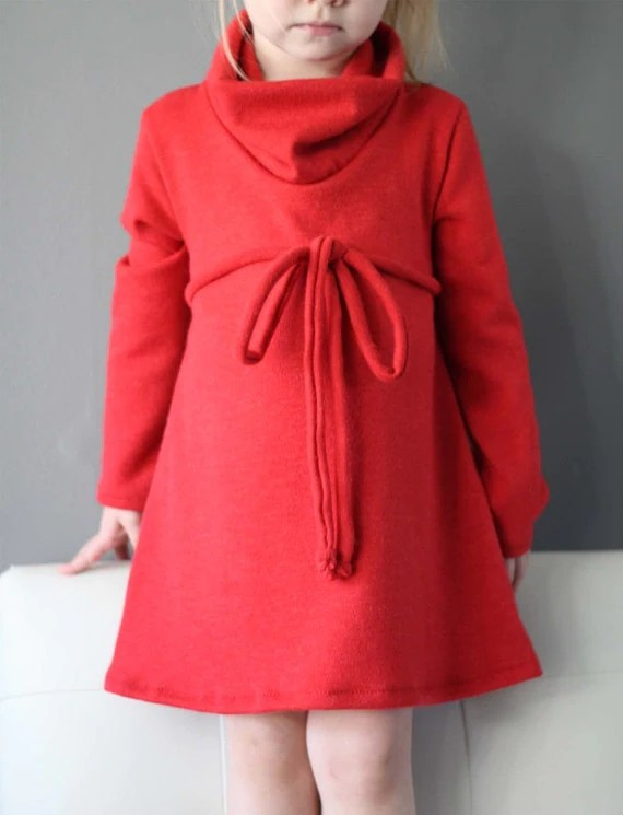 New Cowl Neck Jumper Dress pattern and tutorial PDF 12m-6T EASY SEW tunic dress sweater