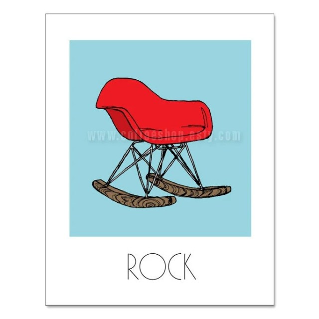 Rock 11x14 Print (Eames Chairs) (Modern Dwell Style) (Background color Sky Blue, Red Rocker)  (Buy 3 Get One Free)