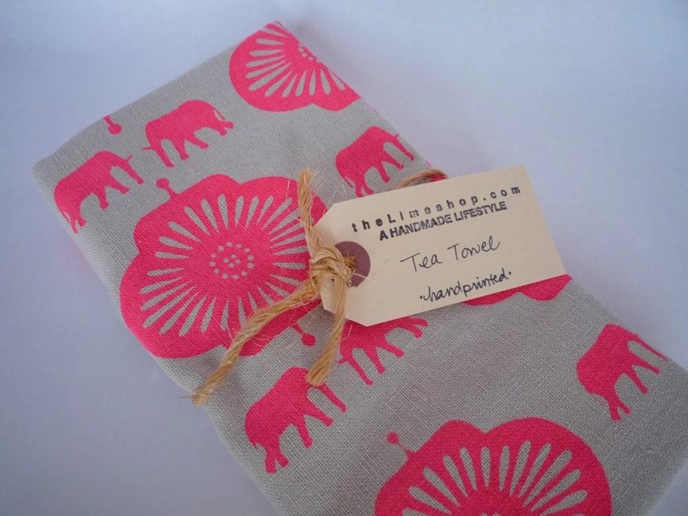 Elephants Screen Printed Hemp Tea Towel - Bright Pink