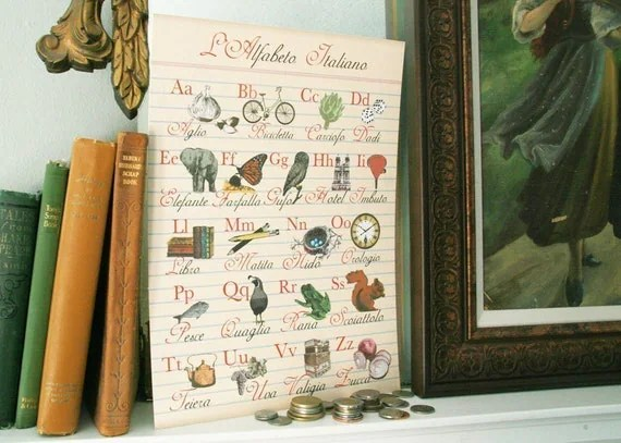 Limited Edition 11x 14 Bibitty Italian Alphabet Poster adds Old World Style with a Chic Twist