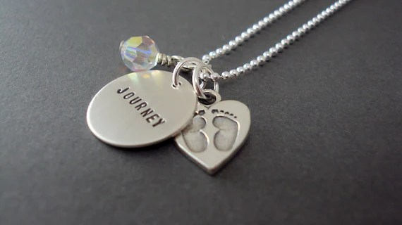 Baby Love - Hand Stamped Sterling Silver Necklace with Swarovski Crystal