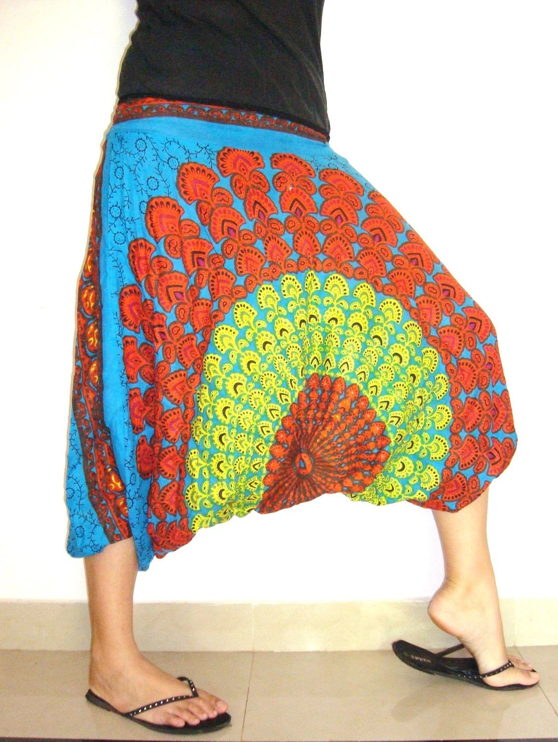 Dont Worry be Hippy....Indian Print Harem Pants in BLUE