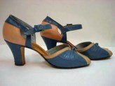 1930s 40s Peep Toe BABYDOLL BLUE and PINK Slingback Ankle Strap Heels Sz 6.5