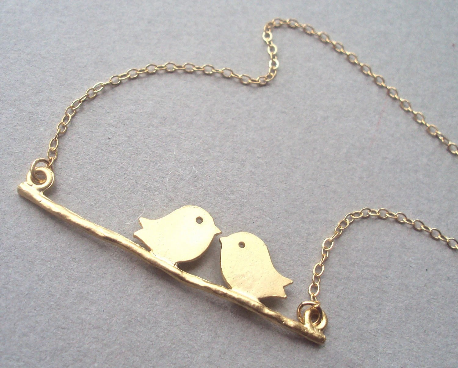 Gold Birds (love birds) necklace with gold filled chain - birds on branch