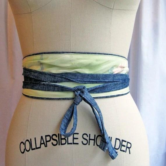 Reversible eco Obi belt - mint  / organic denim - Sale