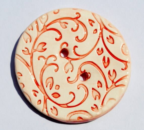 Ceramic Button Red Filigree vine leaves design in Rich & Warm Ruby Red