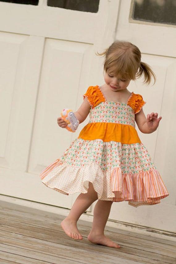 Baby Doll Twirl, Tiered Dress - PDF Sewing Pattern, 6m-6, Girls and Dolls