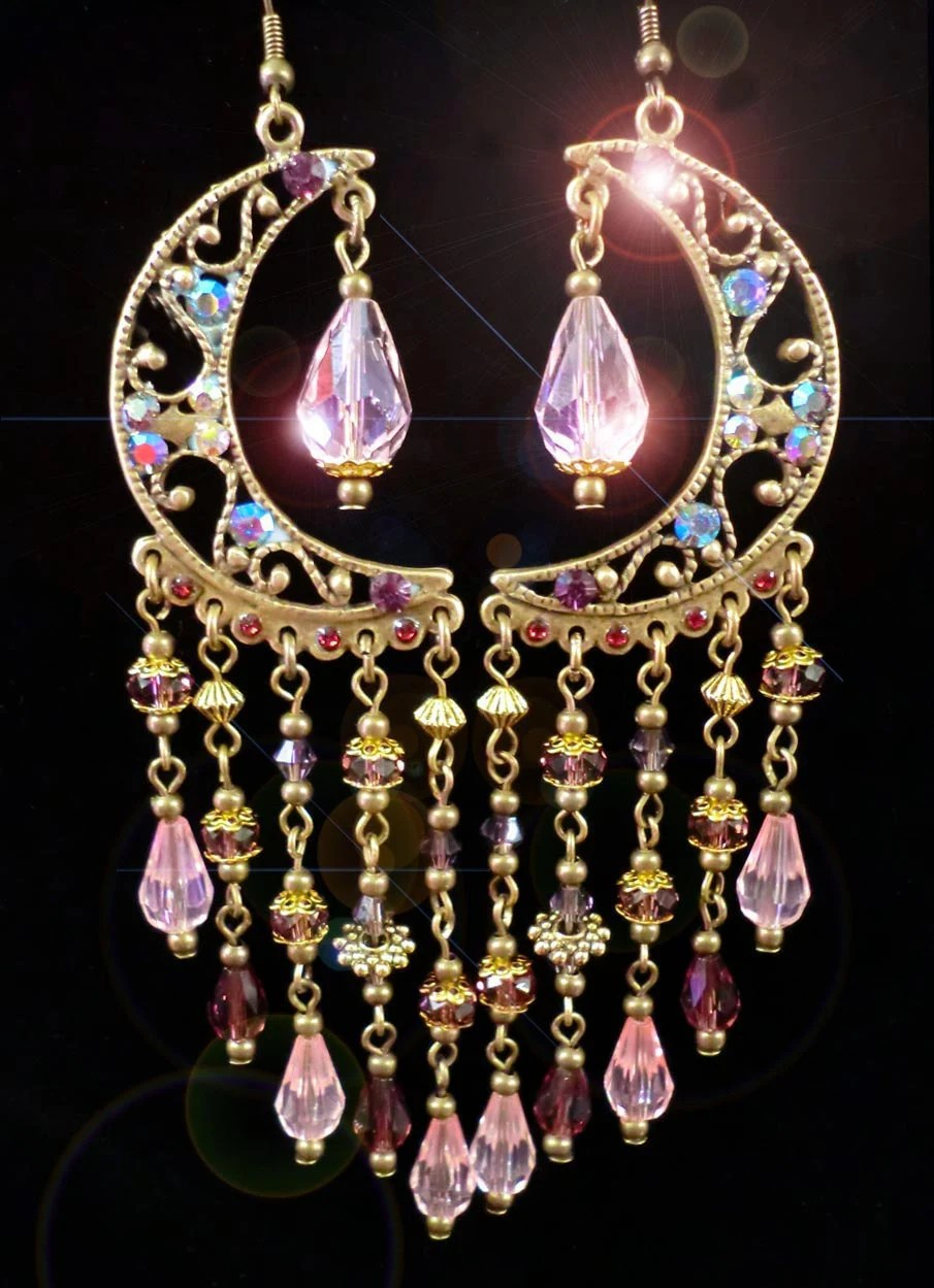 Arabian Nights Fantasy Pink and Purple Crystal Moroccan Chandelier Earrings