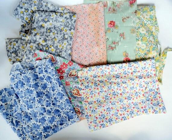 Vintage 30s 40s BIG Feedsack Fabric Lot Floral Art Deco Quilt Scraps