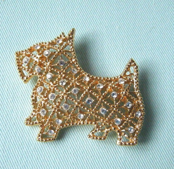 Vintage Scotty Dog Pin Scottish Terrier Brooch ANIMAL CHARITY DONATION