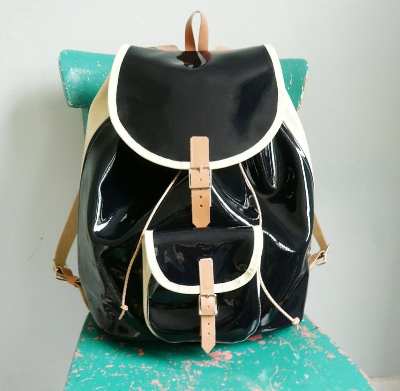 Navy Cream Patent Leather Backpack FREE UK SHIPPING