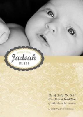 Baby Announcement/Shower Card- Golden Damask 5x7
