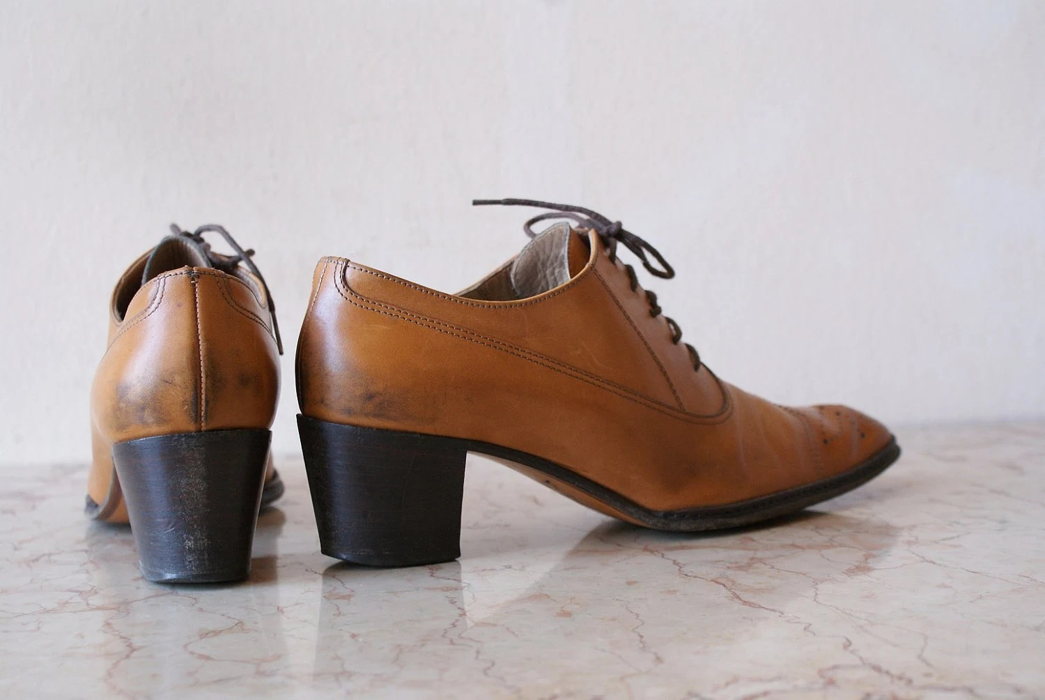 Caramel Colored Leather Fratelli Rossetti Oxfords with Wingtip Toes 7