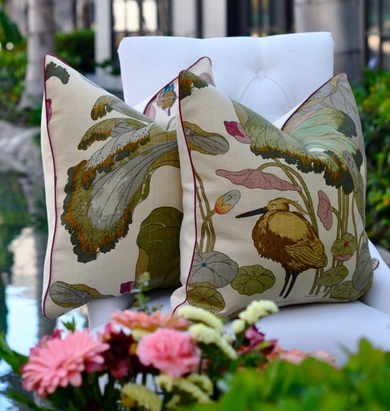 Pair of GP J Baker Nympheus pillows in Biscuit/Taupe 20 sq.