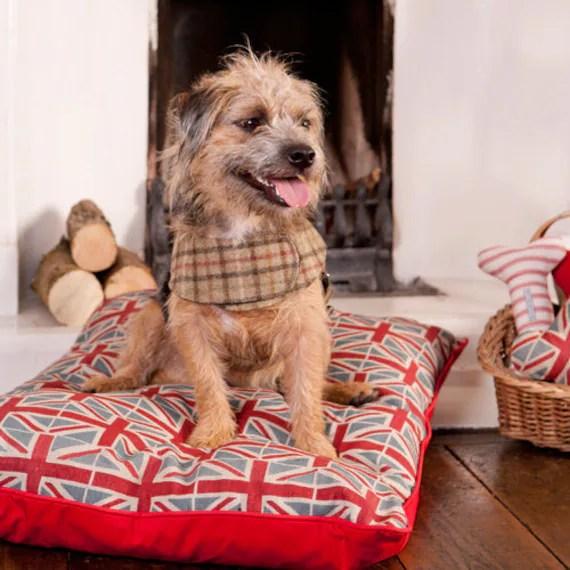 Small Luxury Union Jack Dog Bed