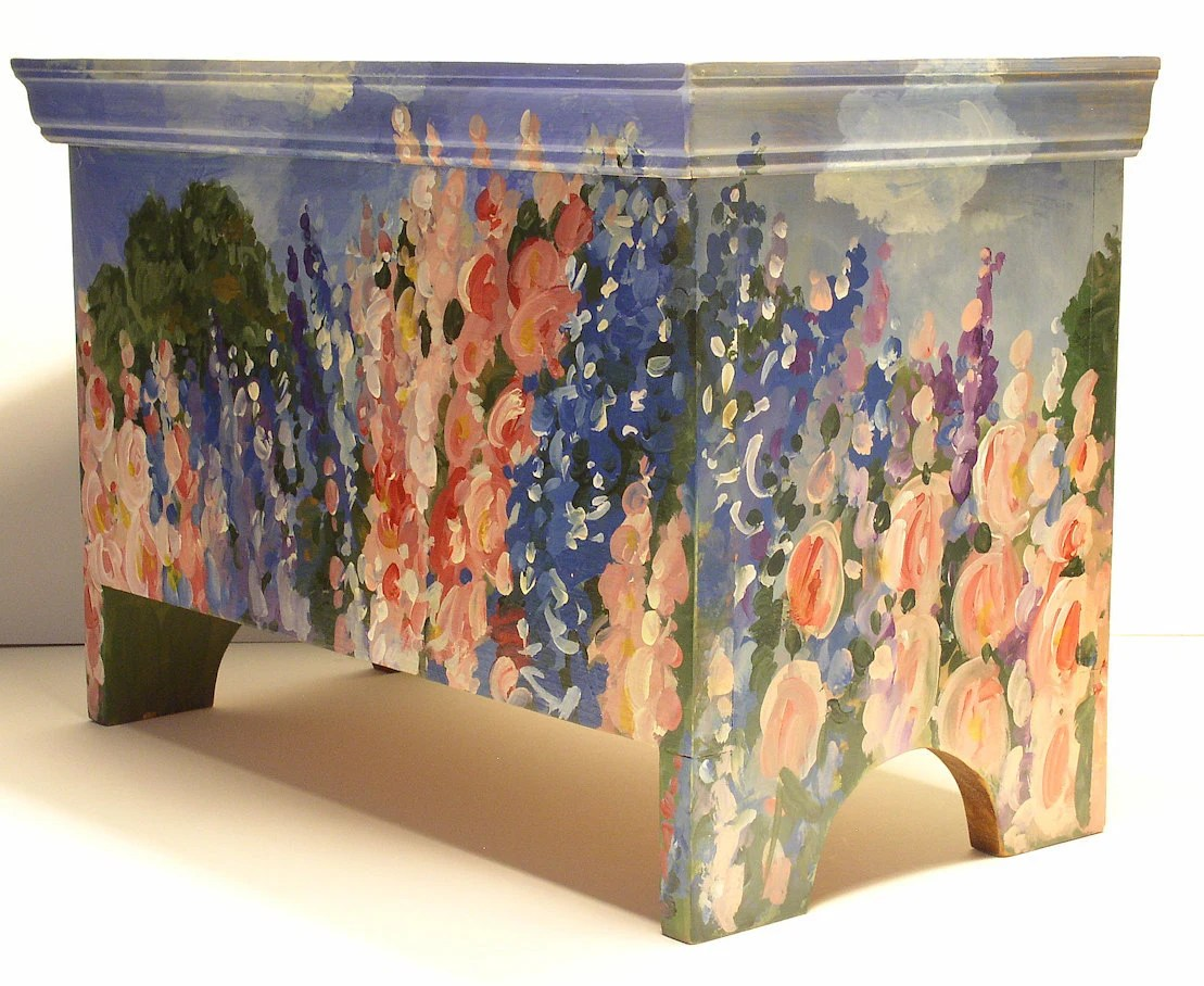 Original Landscape Painting Nature Art Garden Farmhouse Cottage Storage Trunk