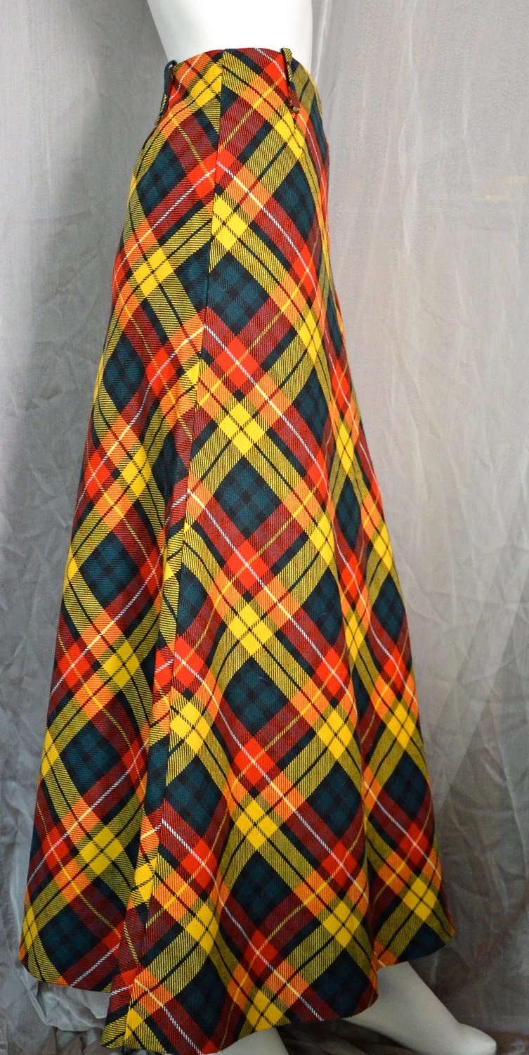 70s Scotch Plaid Bias-Cut Maxi Skirt - M