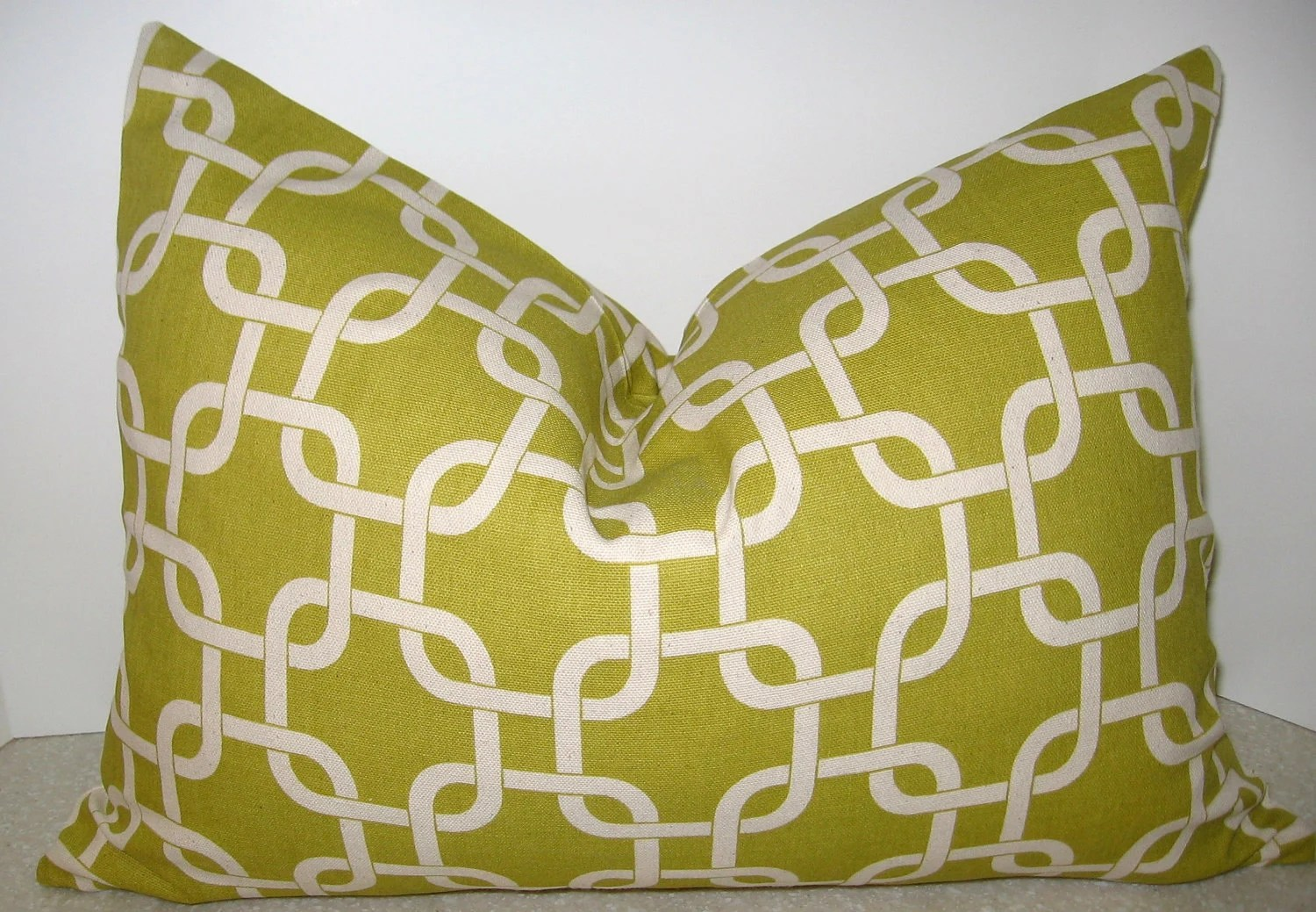 BOTH SIDES 20 x 14 Geometric lumbar pillow citron