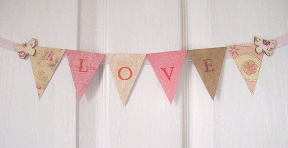 love-paper-garland-bunting-pink-green | artangel on Etsy