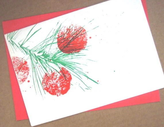 Letterpress Christmas Card pine brances red green white