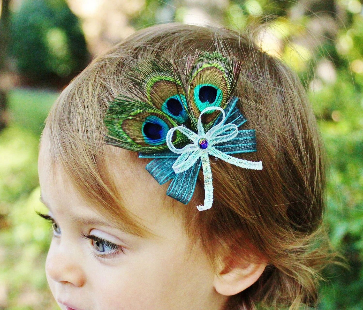 Small Peacock Hair Bow - Girl Toddler Baby - Peacock Feathers Teal Wedding Photo Prop