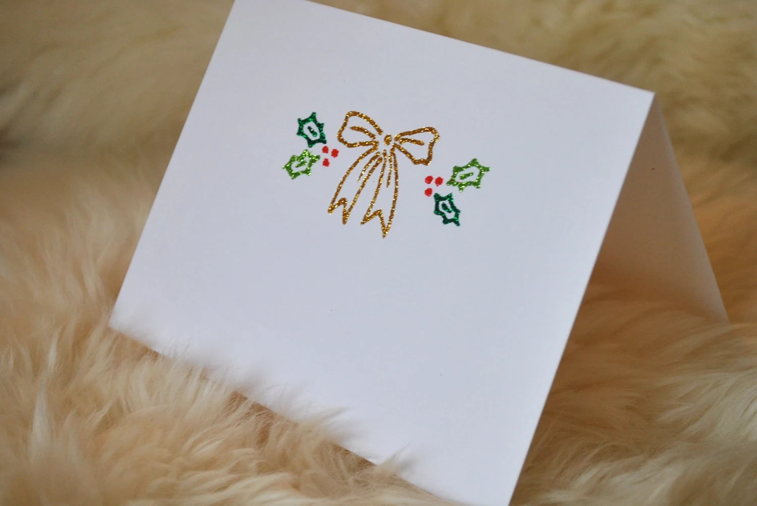 Set of 4 Christmas Bow Notecards (can be personalized)