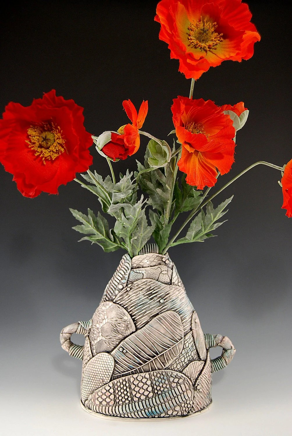 Patchwork Vase with Poppy Flowers