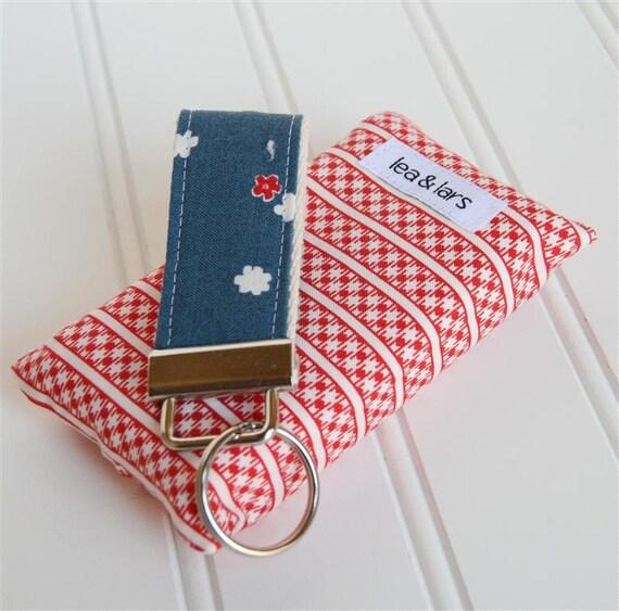 Mini Fabric Key Fob, Tissue Holder - red, white, blue
