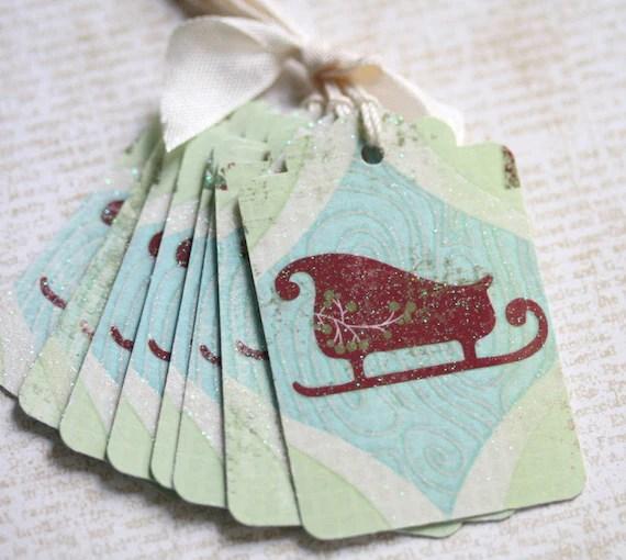 Gift Tags Christmas Vintage Sled Folk Art Style Vintage Christmas