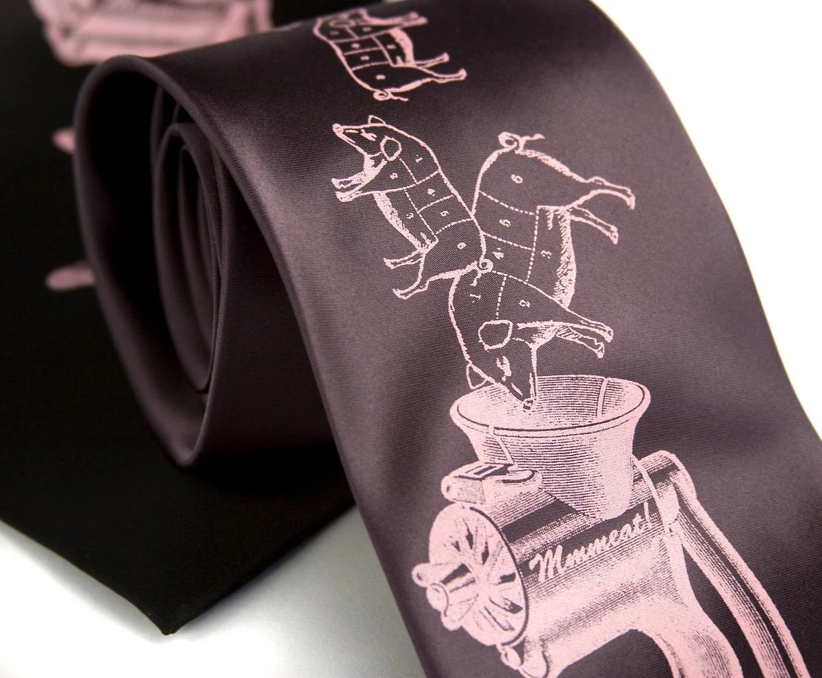 Meat Grinder necktie. Bacon and sausage lovers tie, screenprinted microfiber. Pink ink.