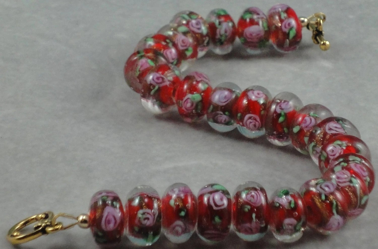 Red Christmas Rose Bracelet